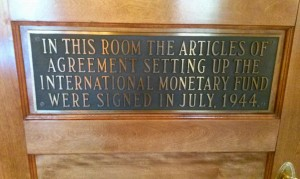 This small room within the Mount Washington Hotel is where the historic agreements were signed establishing the International Monetary Fund and World Bank in 1944.