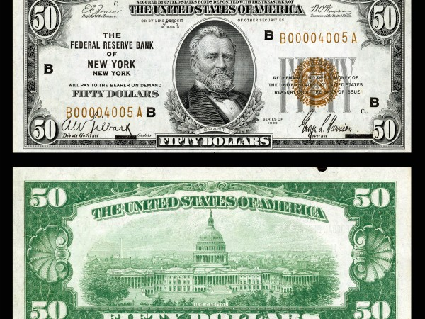 $50 Federal Reserve Bank Note (1929) depicting Ulysses S. Grant - Futures