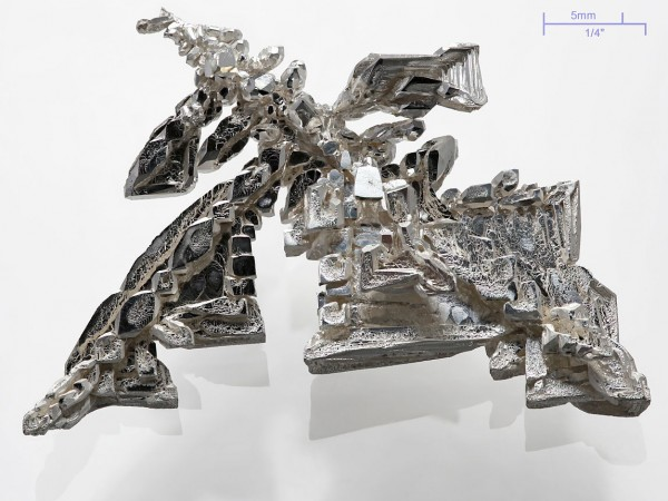A pure (>99.95%) silver crystal, synthetic electrolytic made with visible dendritic structures. Weight ≈11g. - No gold here
